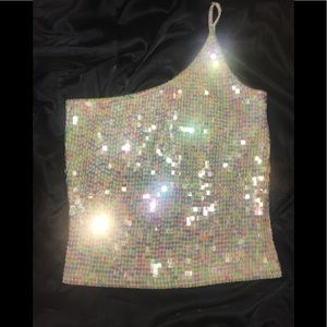 Sparkly one shoulder party top